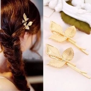 Pair of 3 Leaf Gold Branch Hair Pin Clip Set